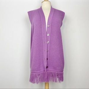 Vtg 70s lavender purple longline knit sweater vest